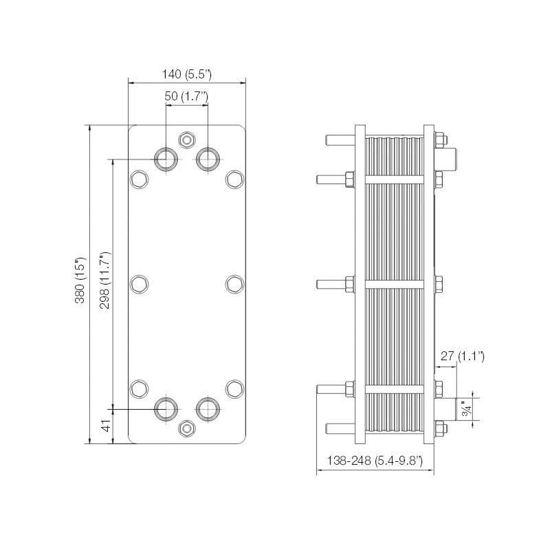 Poza Dimensiuni Schimbator de caldura in placi Alfa Laval T2-BFG 16 PL - 80 kW