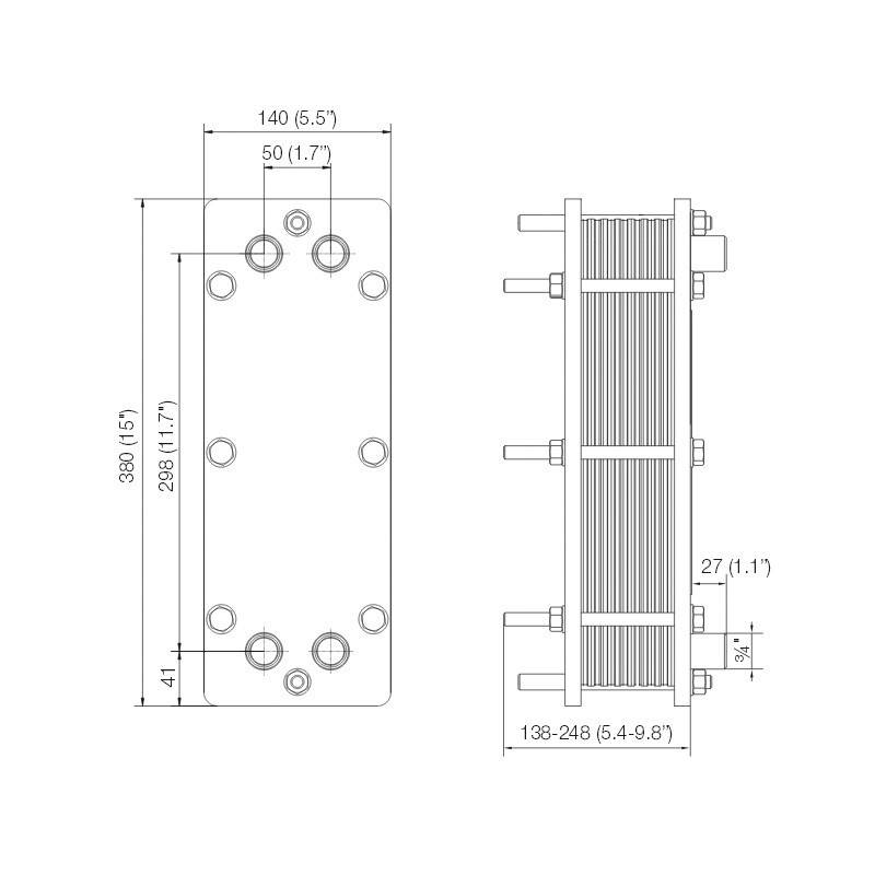Poza Dimensiuni Schimbator de caldura in placi Alfa Laval T2-BFG 22 PL - 120 kW