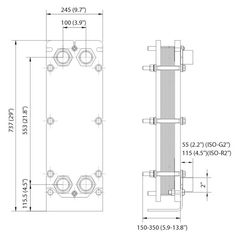 Poza Dimensiuni Schimbator de caldura in placi Alfa Laval T5-MFG 50 PL - 850 kW