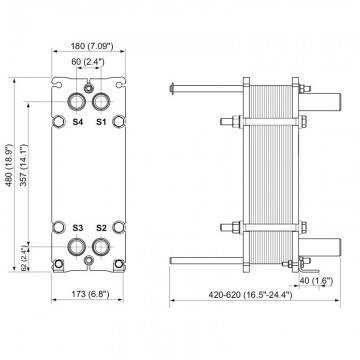 Poza Dimensiuni Schimbator de caldura in placi Alfa Laval M3-FG 24 PL - 180 kW